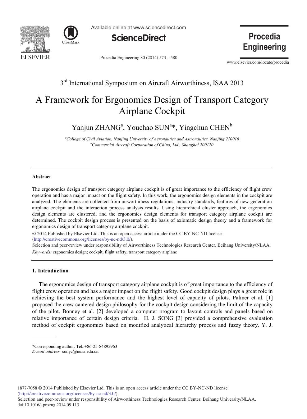 A Framework for Ergonomics Design of Transport Category