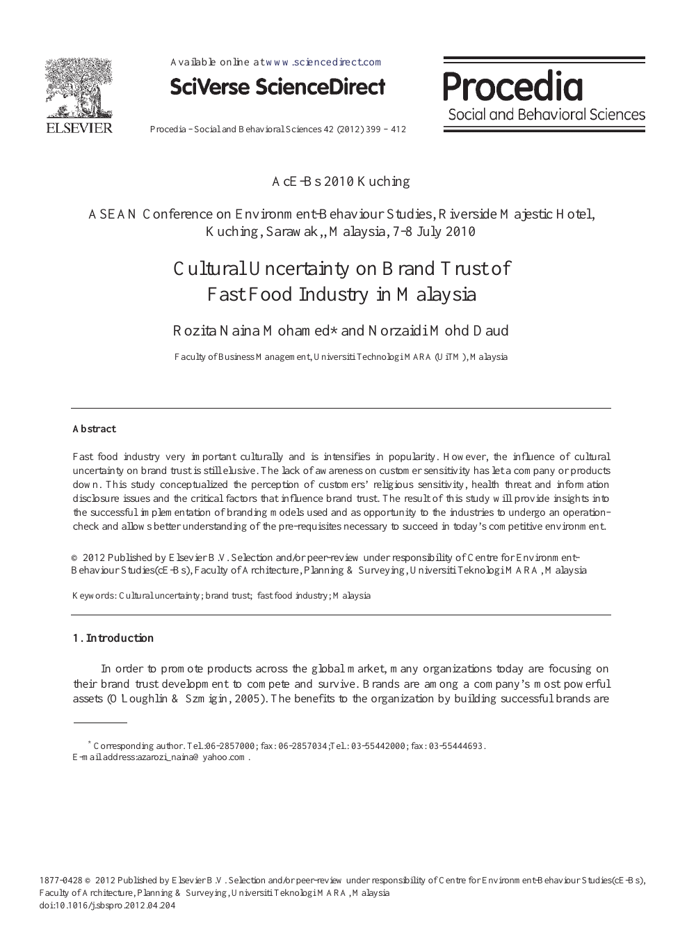 Cultural Uncertainty on Brand Trust of Fast Food Industry in