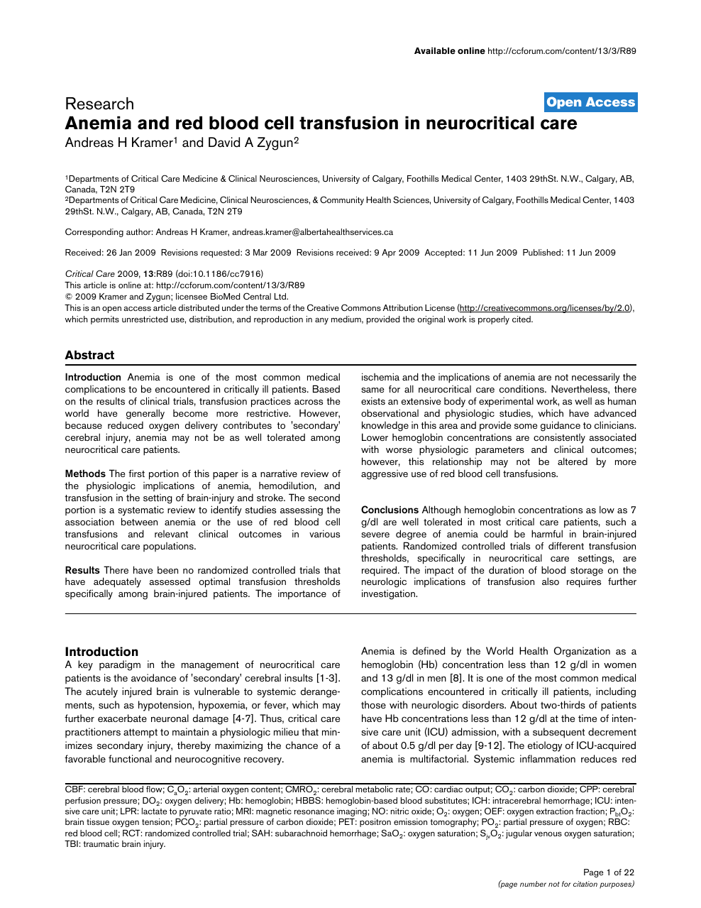Anemia and red blood cell transfusion in neurocritical care – topic