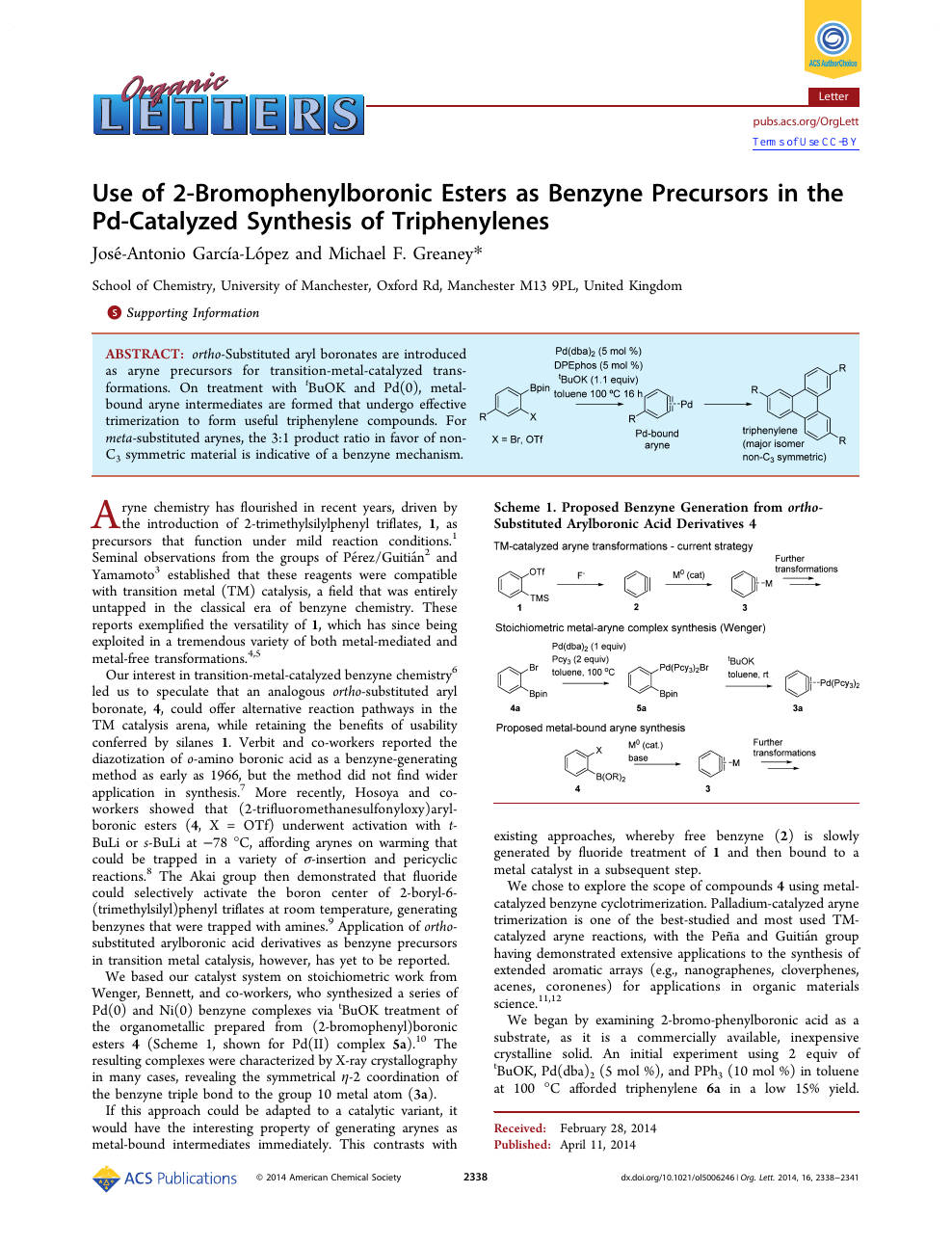 Use of 2-Bromophenylboronic Esters as Benzyne Precursors in the Pd