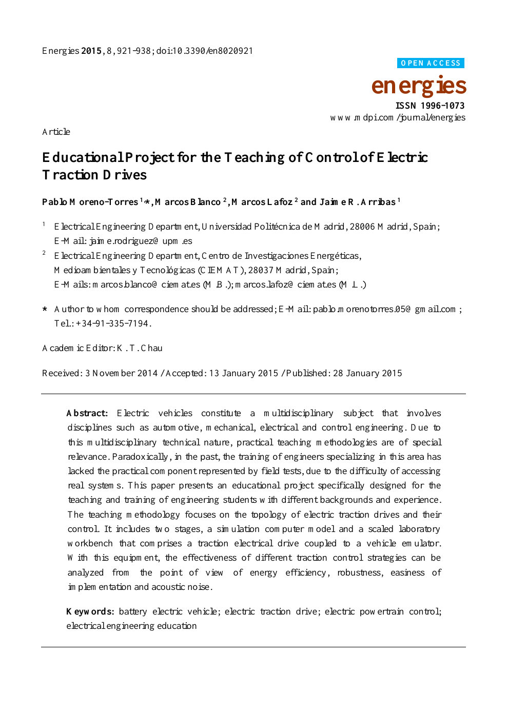 Educational Project for the Teaching of Control of Electric