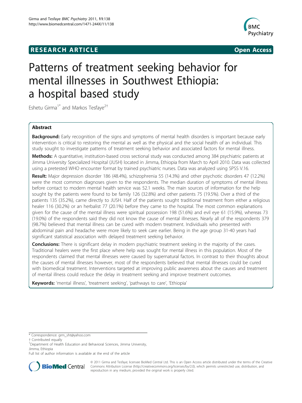 Patterns of treatment seeking behavior for mental illnesses in