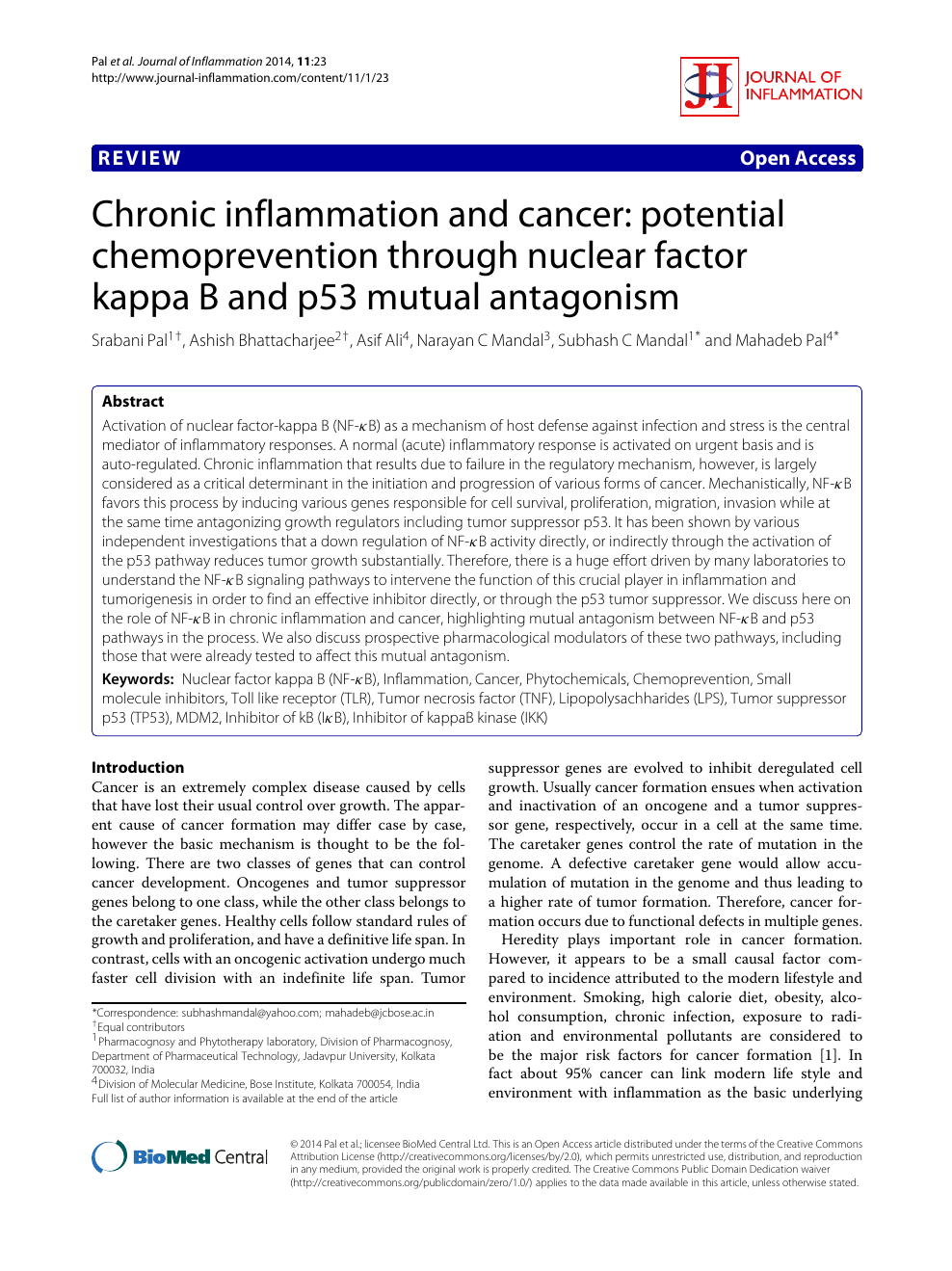 Chronic inflammation and cancer: potential chemoprevention