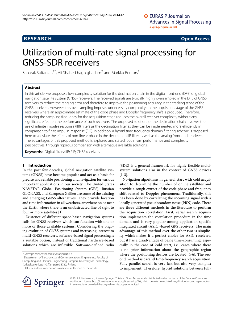 Utilization of multi-rate signal processing for GNSS-SDR receivers