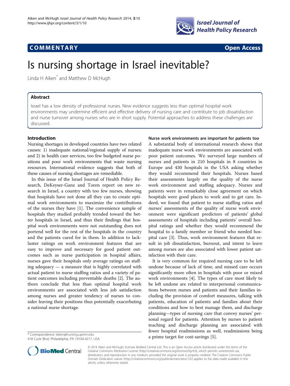 research paper on nursing shortage