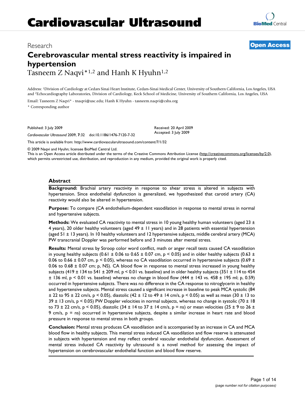 Cerebrovascular mental stress reactivity is impaired in