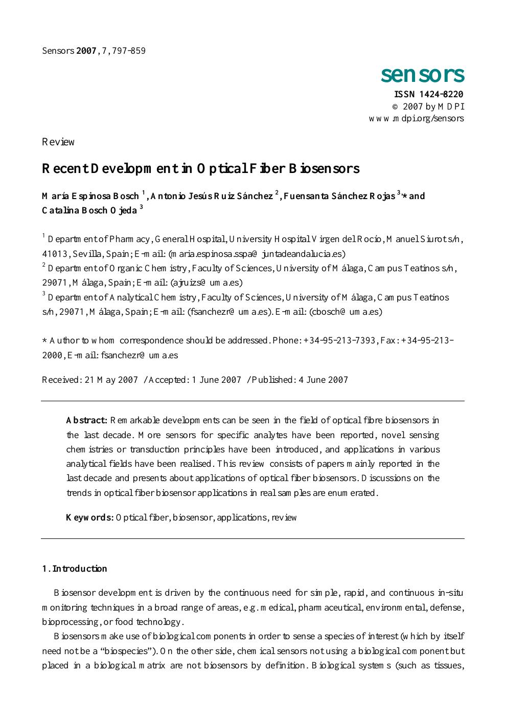 Recent Development in Optical Fiber Biosensors – topic of