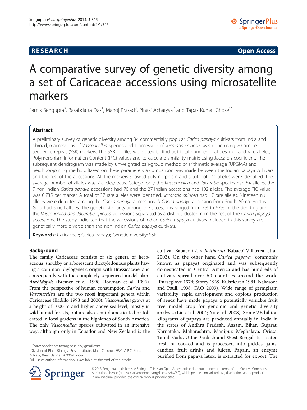 A comparative survey of genetic diversity among a set of Caricaceae