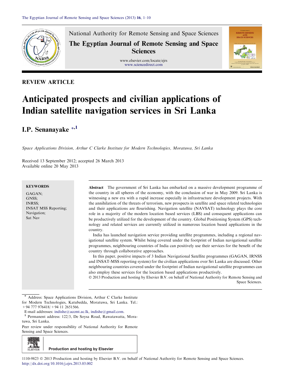 Anticipated prospects and civilian applications of Indian