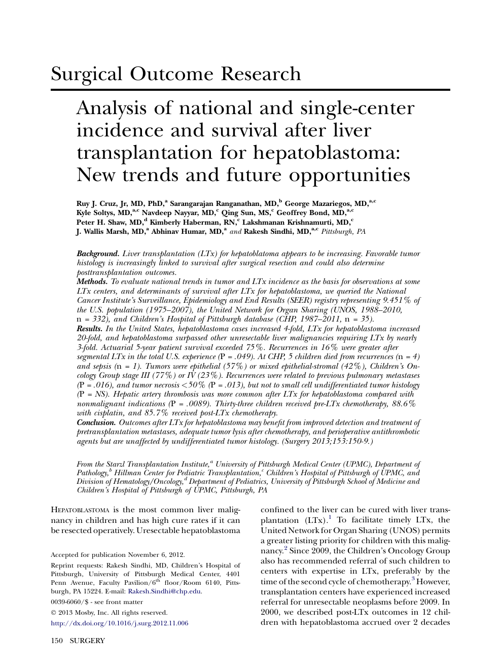 Analysis of national and single-center incidence and