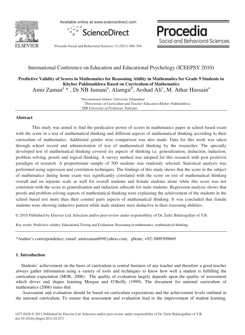 Predictive Validity of Scores in Mathematics for Reasoning Ability