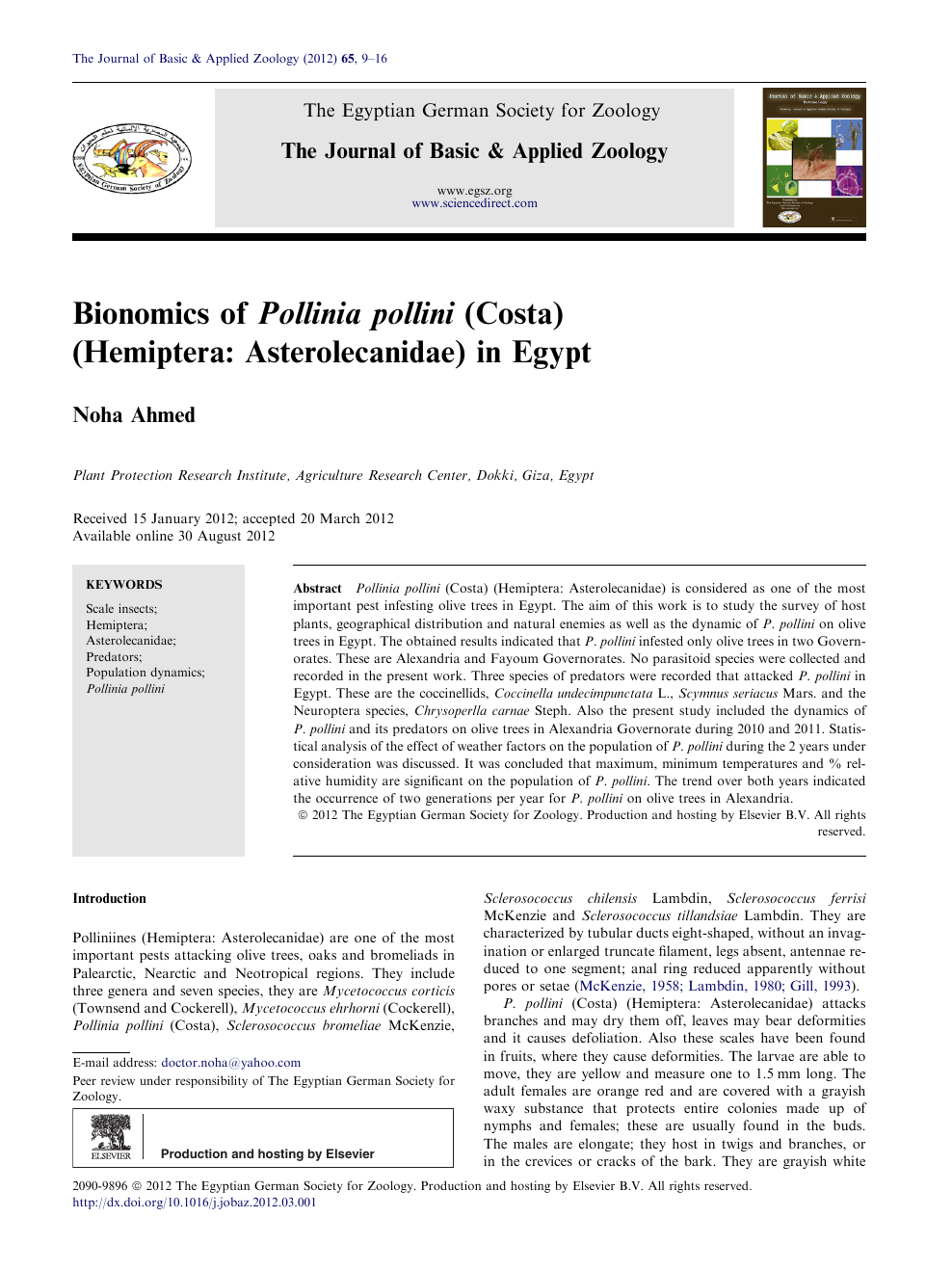 Bionomics of Pollinia pollini (Costa) (Hemiptera