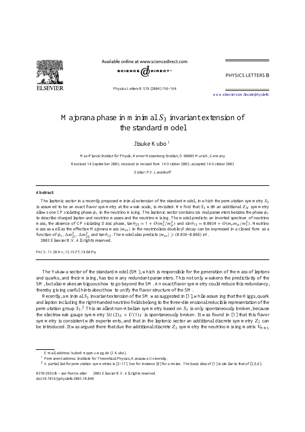 Majorana phase in minimal S3 invariant extension of the
