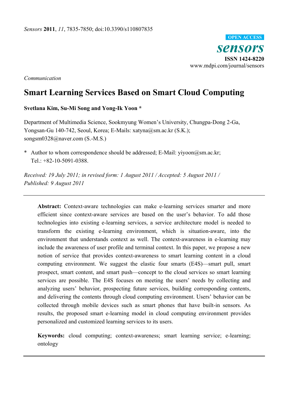 Smart Learning Services Based on Smart Cloud Computing