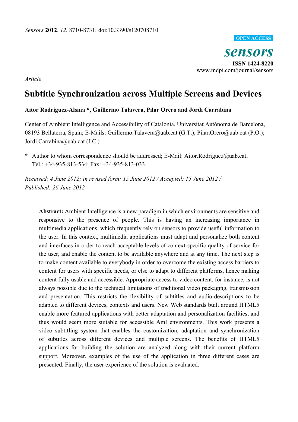 Subtitle Synchronization across Multiple Screens and Devices – topic