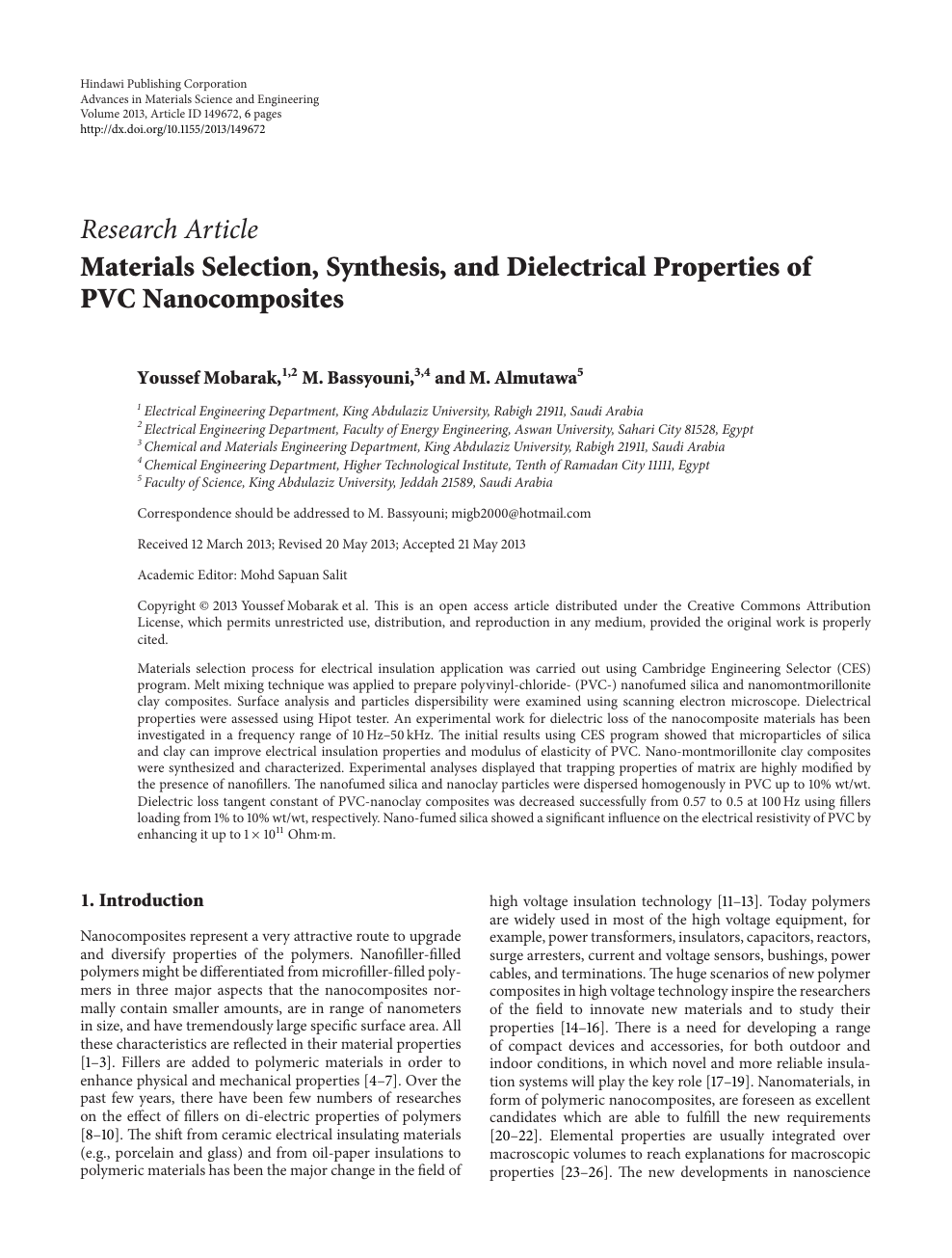 Materials Selection, Synthesis, and Dielectrical Properties of PVC