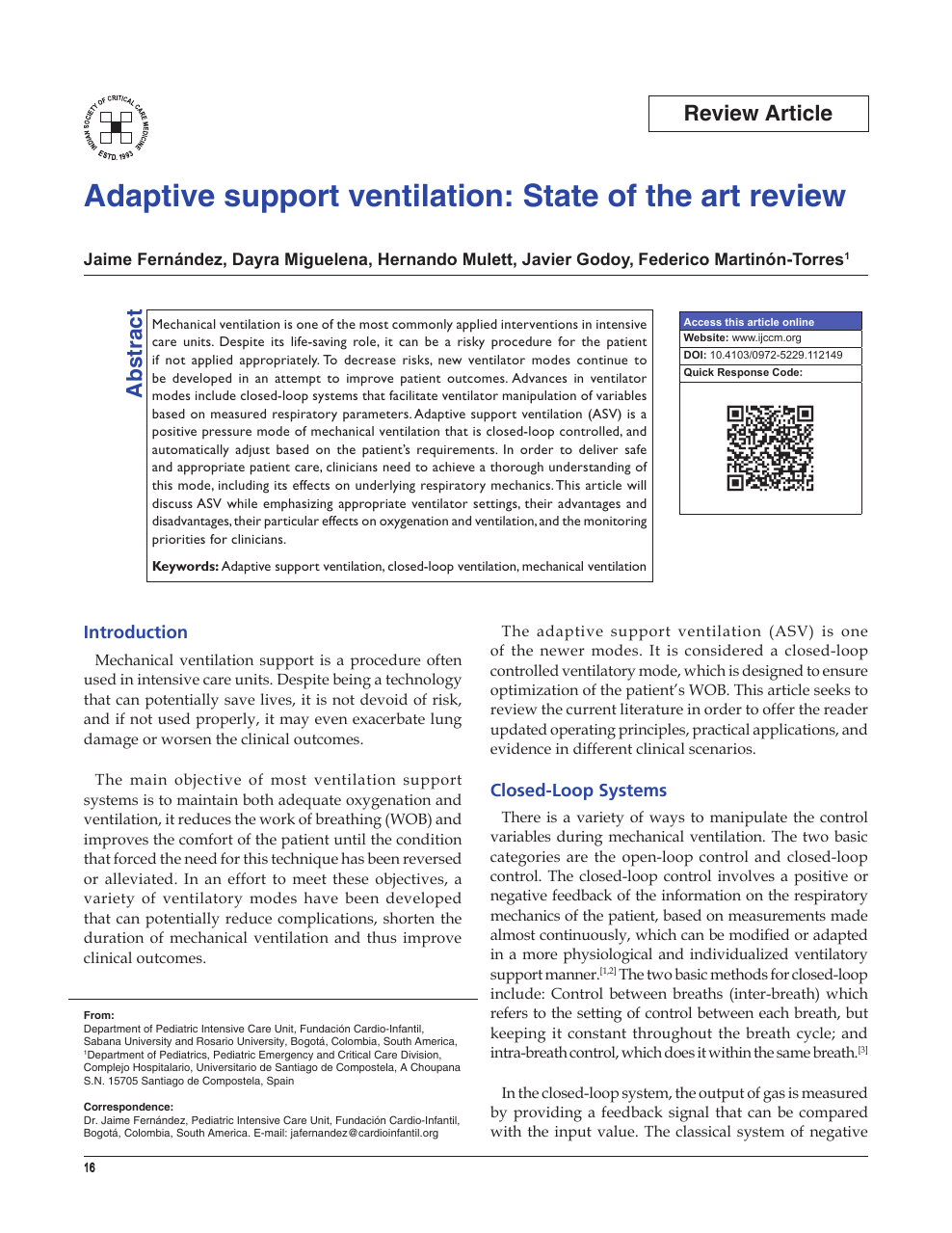 Adaptive support ventilation: State of the art review