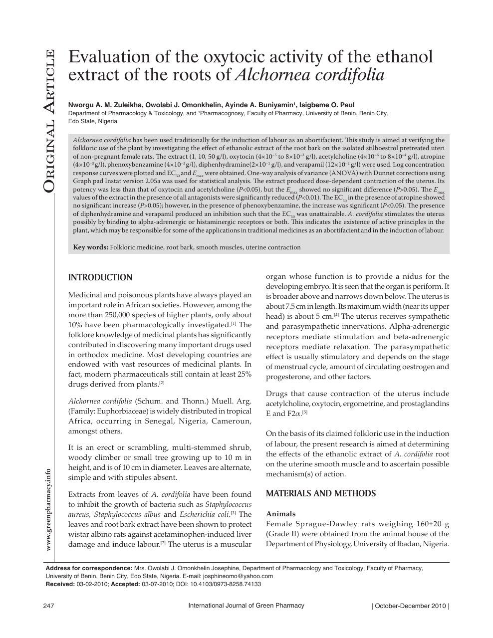 Evaluation of the oxytocic activity of the ethanol extract