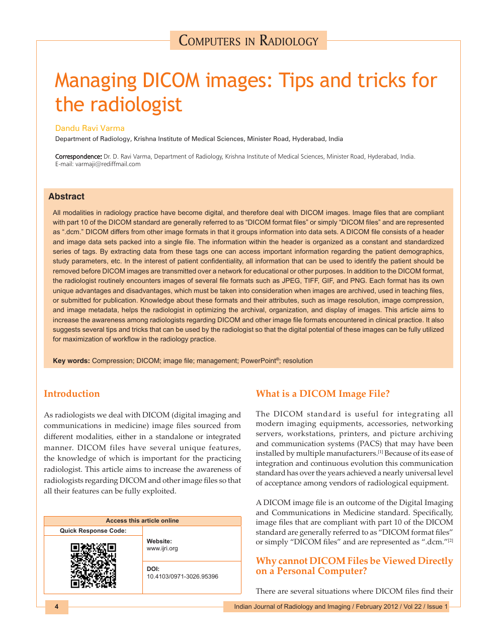 Managing DICOM images: Tips and tricks for the radiologist – topic