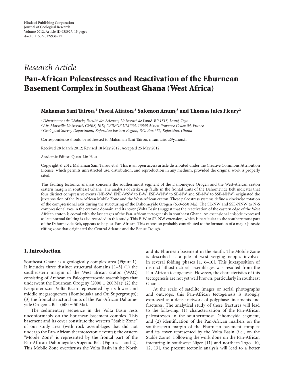 Pan African Paleostresses And Reactivation Of The Eburnean