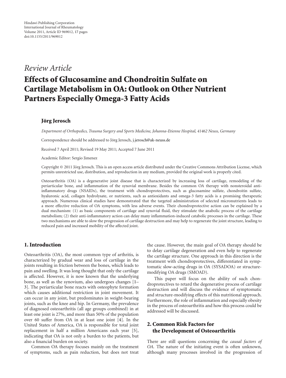 Effects of Glucosamine and Chondroitin Sulfate on Cartilage