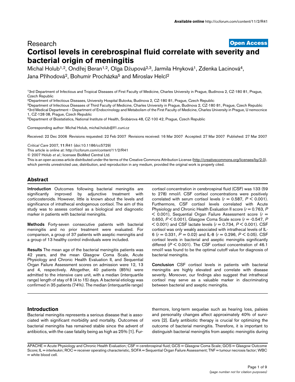 Cortisol levels in cerebrospinal fluid correlate with severity and  bacterial origin of meningitis – topic of research paper in Clinical  medicine. Download scholarly article PDF and read for free on CyberLeninka  open