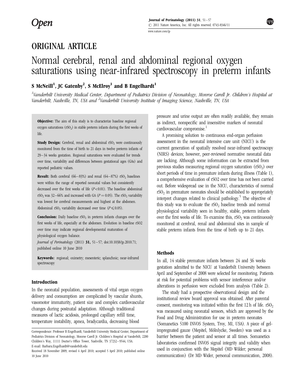 Normal cerebral, renal and abdominal regional oxygen