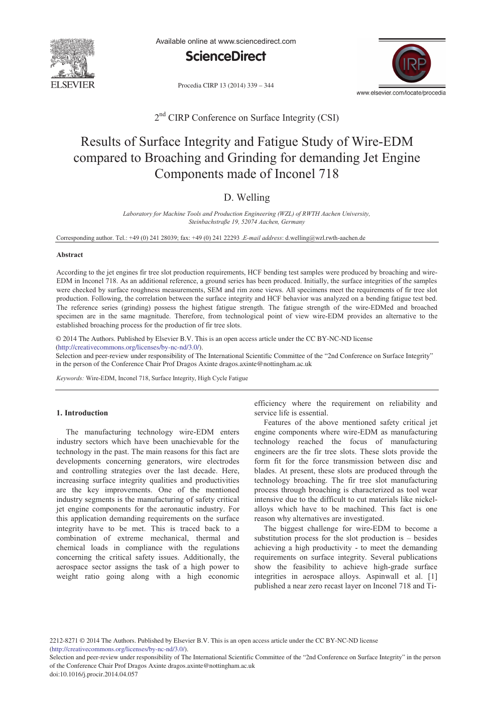 Results of Surface Integrity and Fatigue Study of Wire-EDM Compared