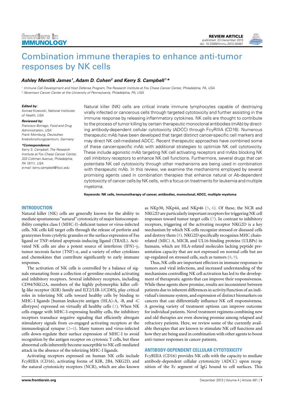 Combination Immune Therapies to Enhance Anti-Tumor Responses