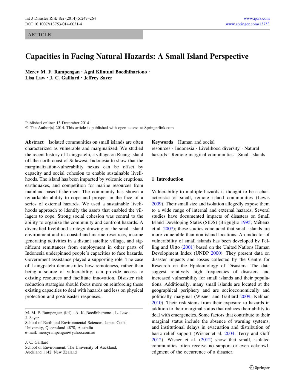 Capacities In Facing Natural Hazards A Small Island Perspective Topic Of Research Paper In Social And Economic Geography Download Scholarly Article Pdf And Read For Free On Cyberleninka Open Science Hub