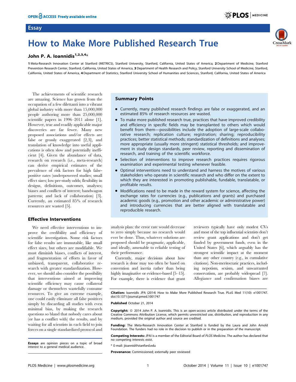 How to Make More Published Research True – topic of research