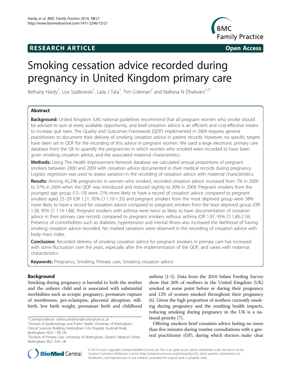 research paper smoking during pregnancy