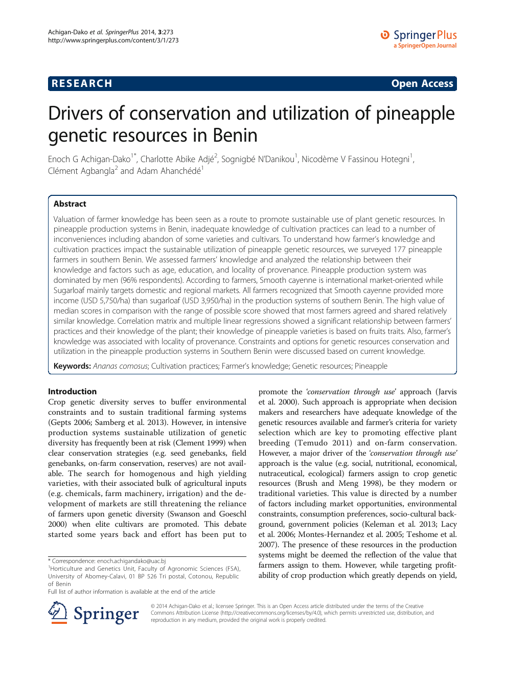 Drivers of conservation and utilization of pineapple genetic