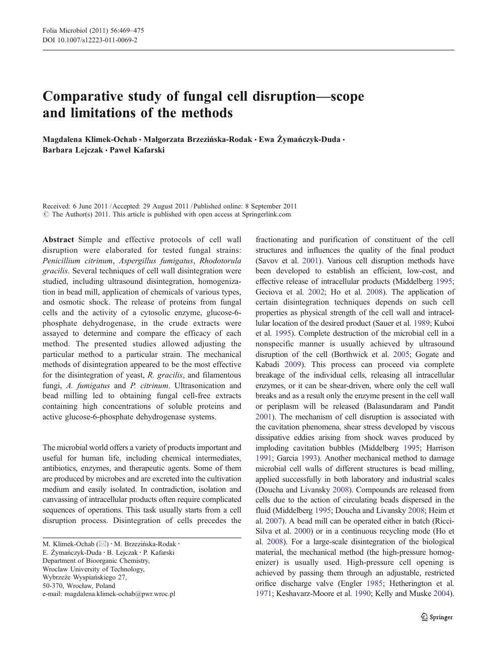 Comparative study of fungal cell disruption—scope and limitations of the  methods – topic of research paper in Agricultural biotechnology. Download  scholarly article PDF and read for free on CyberLeninka open science hub.