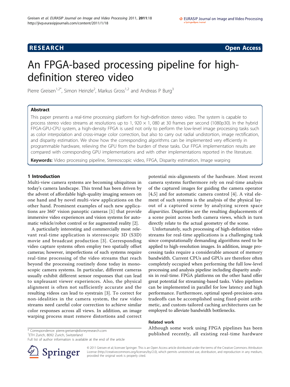 An FPGA-based processing pipeline for high-definition stereo