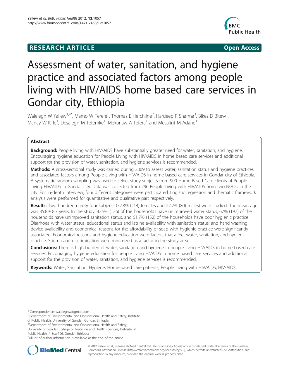 Assessment of water, sanitation, and hygiene practice and