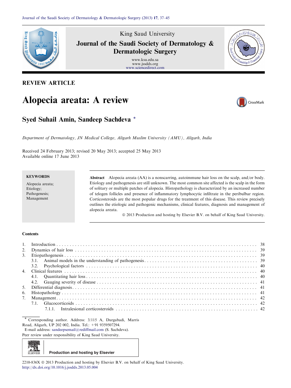 Alopecia areata: A review – topic of research paper in