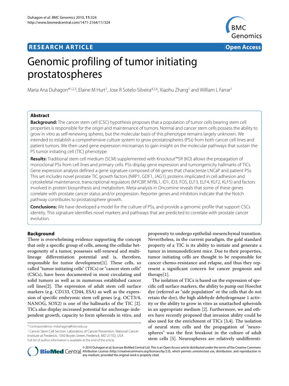Genomic profiling of tumor initiating prostatospheres