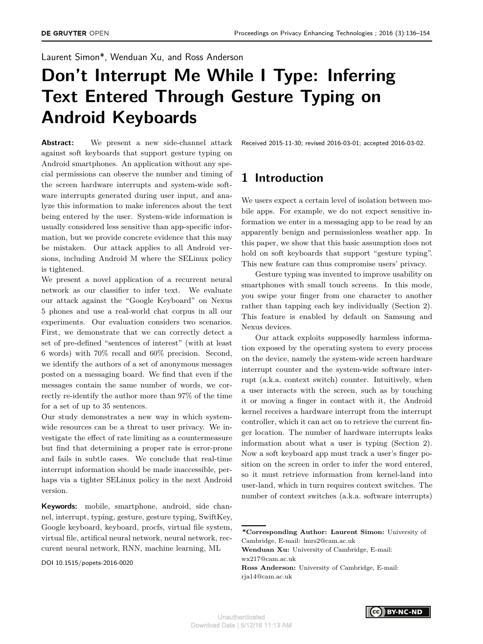Don't Interrupt Me While I Type: Inferring Text Entered Through