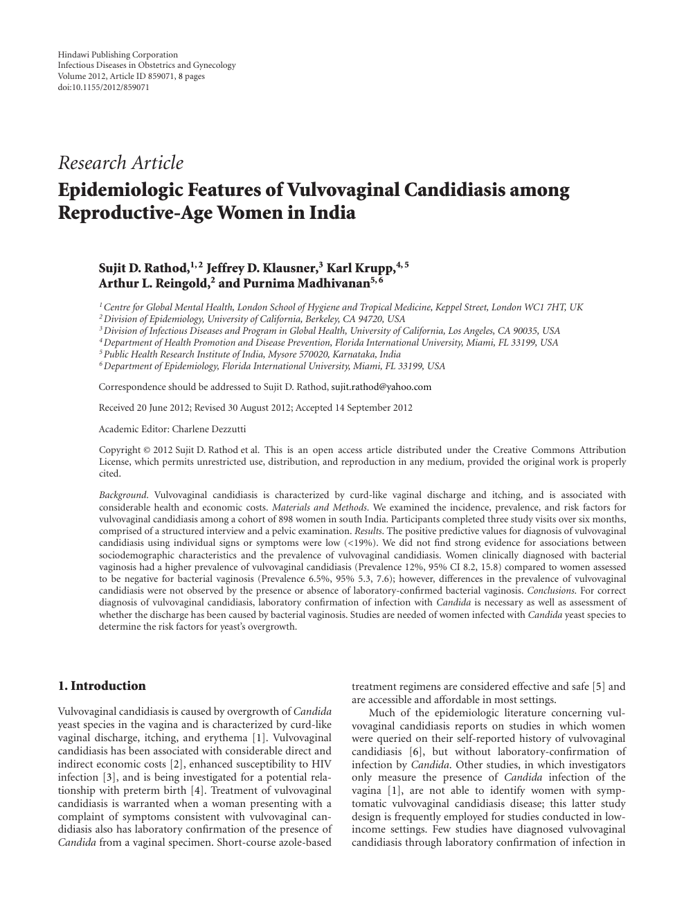 Epidemiologic Features of Vulvovaginal Candidiasis among