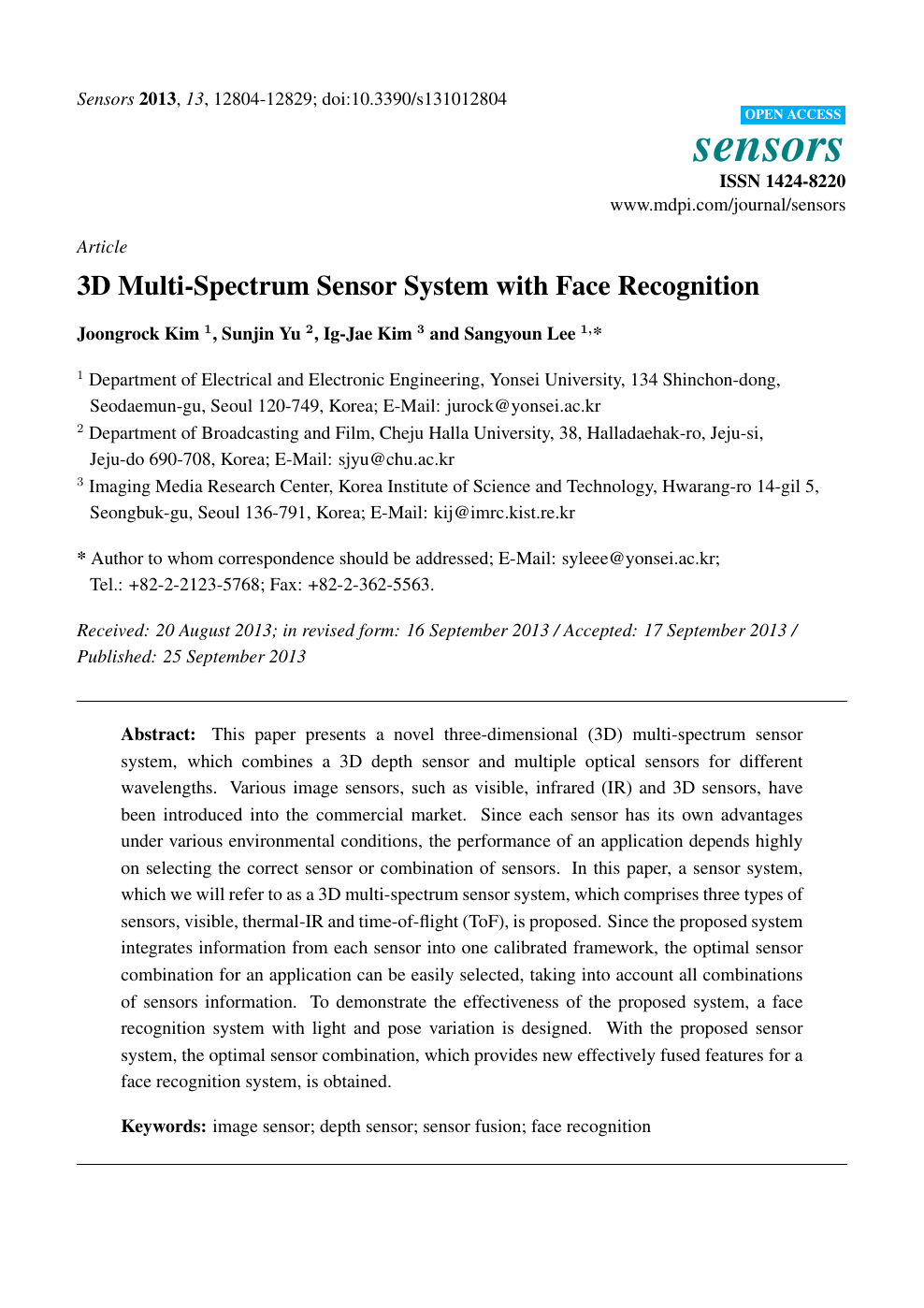 3D Multi-Spectrum Sensor System with Face Recognition