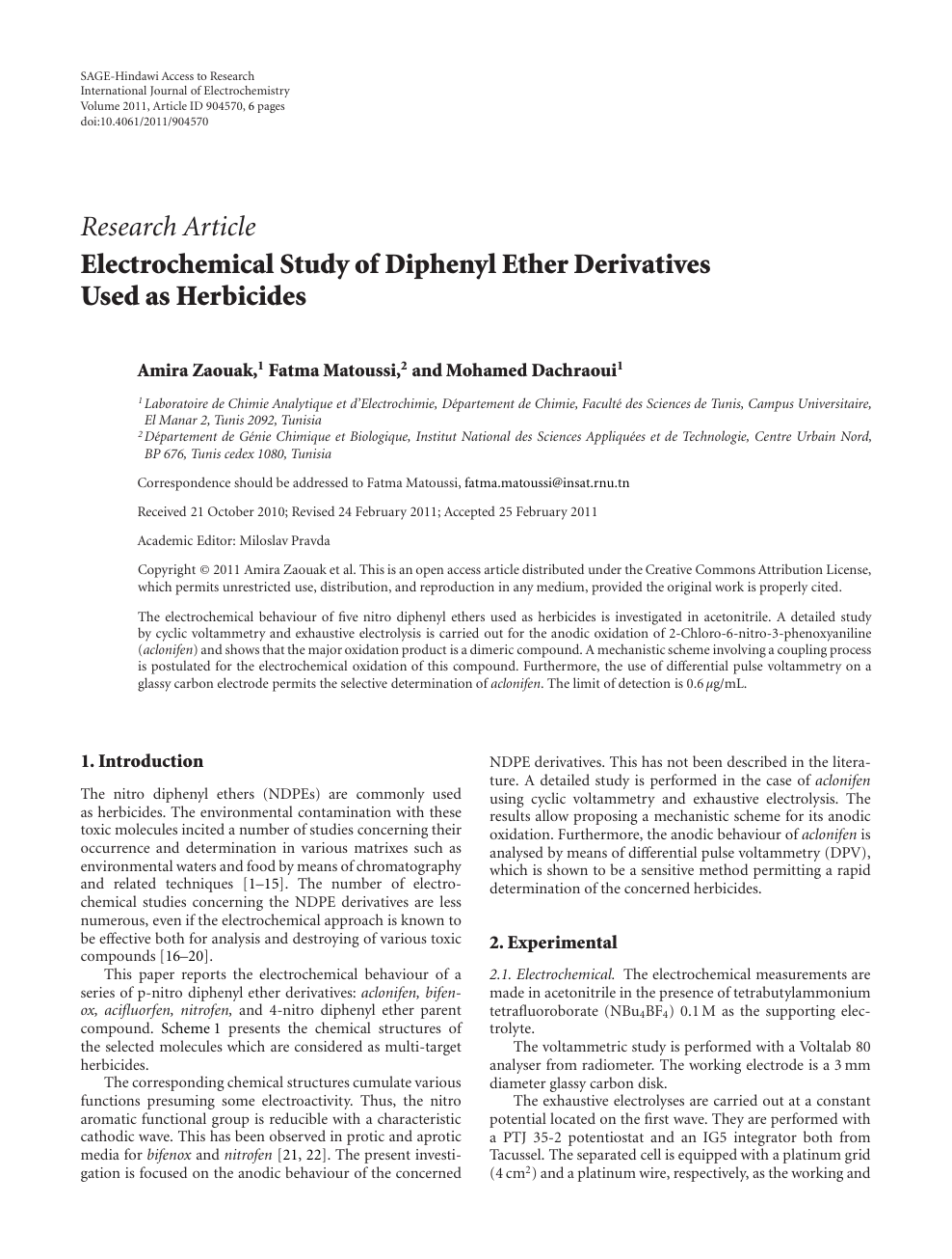 Electrochemical Study of Diphenyl Ether Derivatives Used as