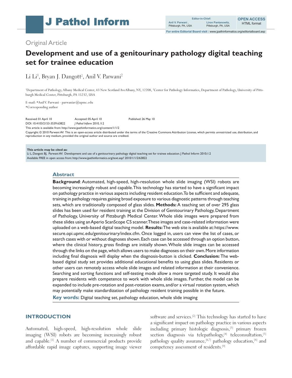 Development and use of a genitourinary pathology digital