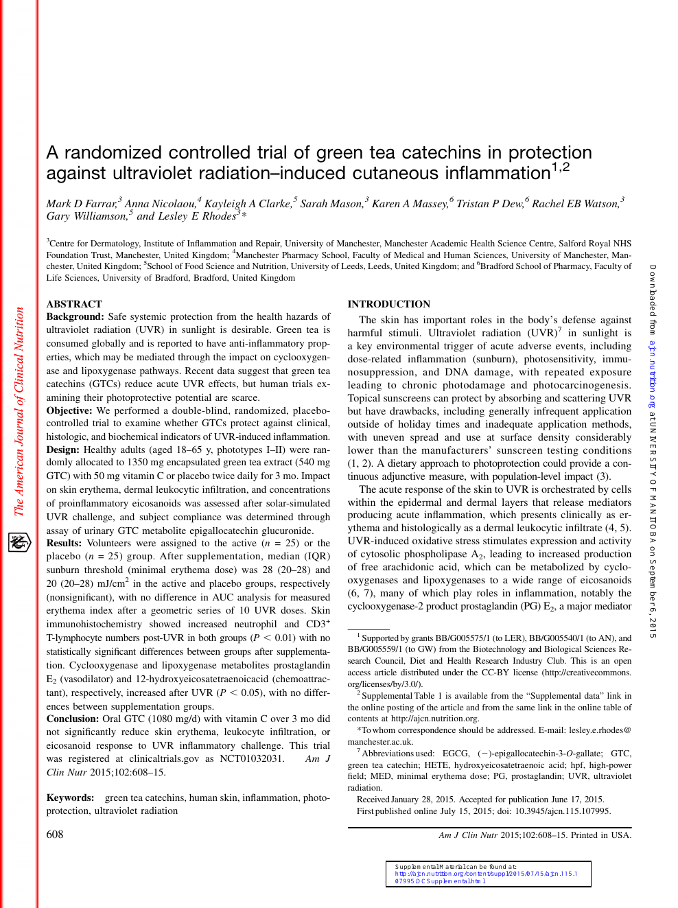 A Randomized Controlled Trial Of Green Tea Catechins In Protection Against Ultraviolet Radiation Induced Cutaneous Inflammation Topic Of Research Paper In Clinical Medicine Download Scholarly Article Pdf And Read For Free On