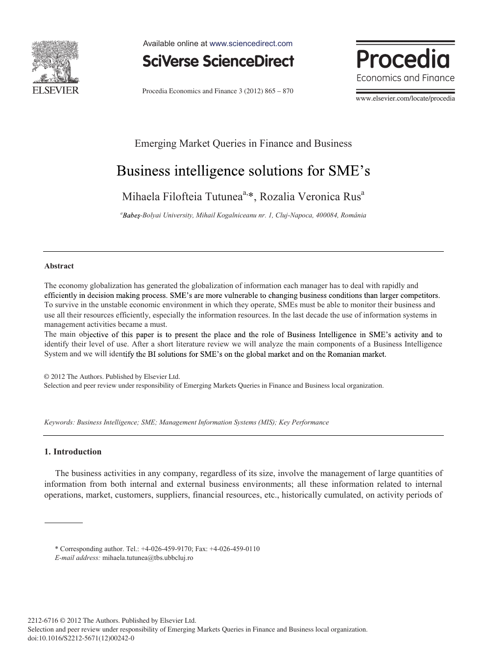 business intelligence research papers