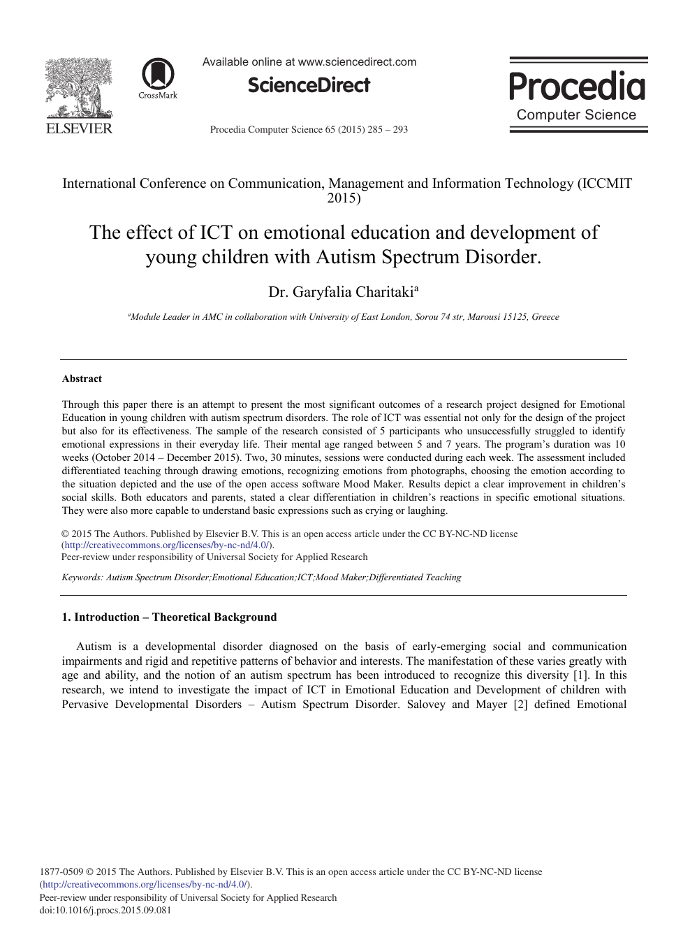 The Effect of ICT on Emotional Education and Development of