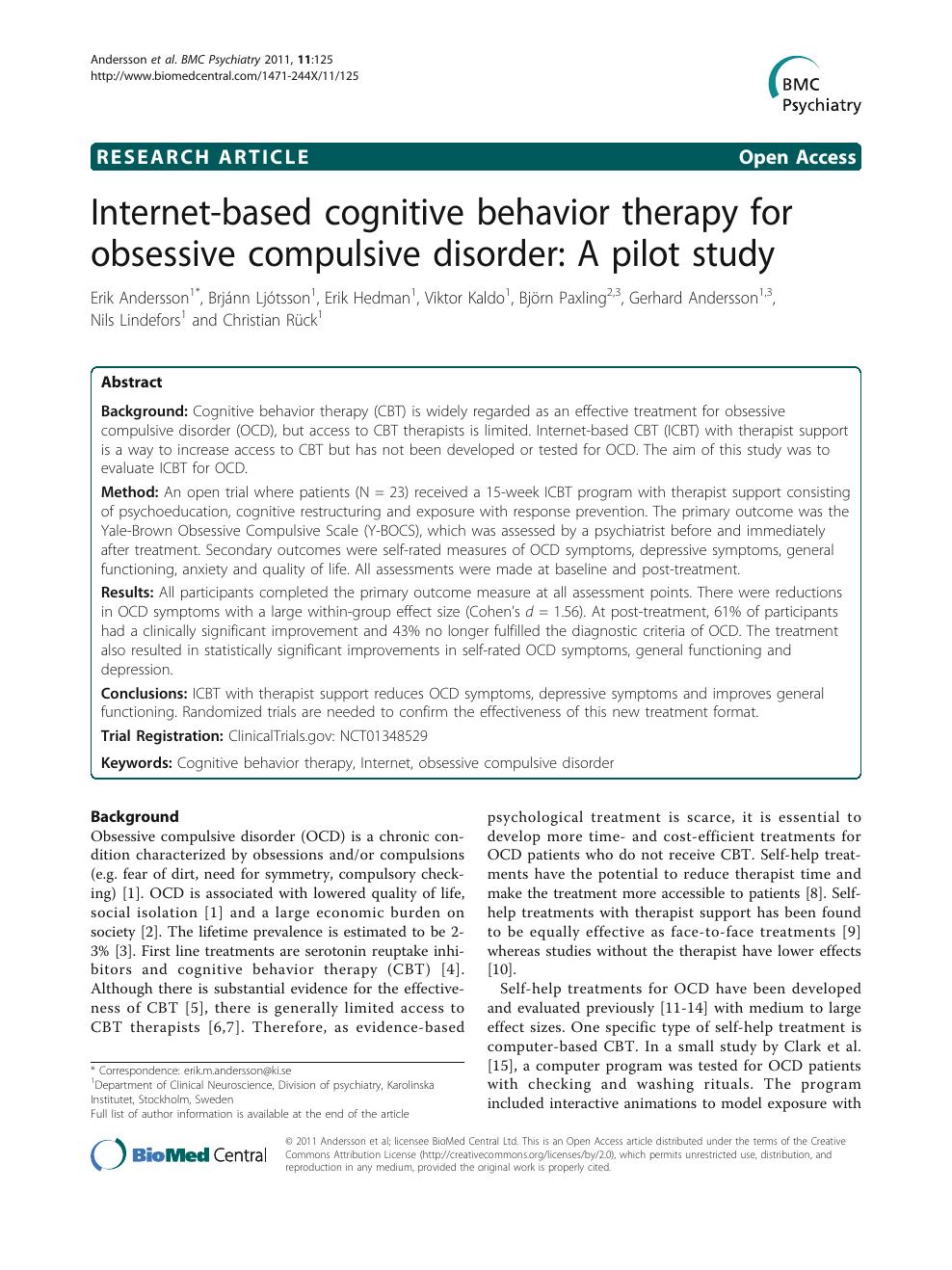 obsessive compulsive disorder research paper