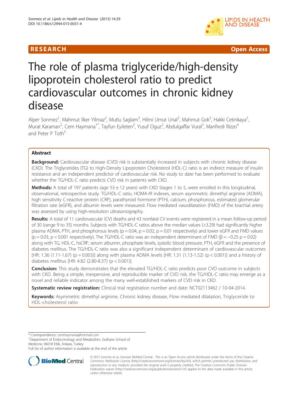 The role of plasma triglyceride/high-density lipoprotein