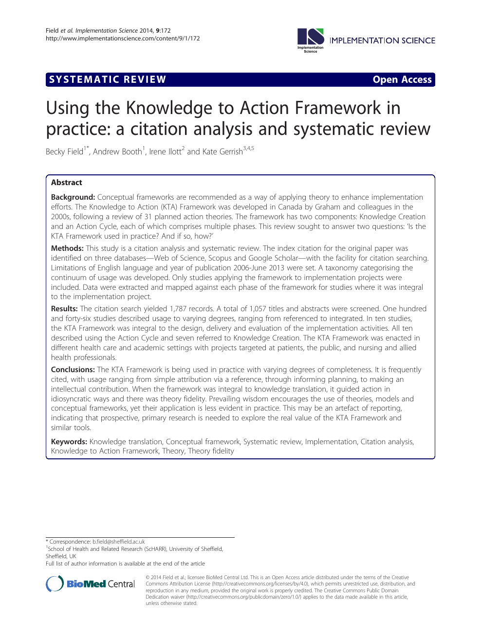 Using the Knowledge to Action Framework in practice: a citation
