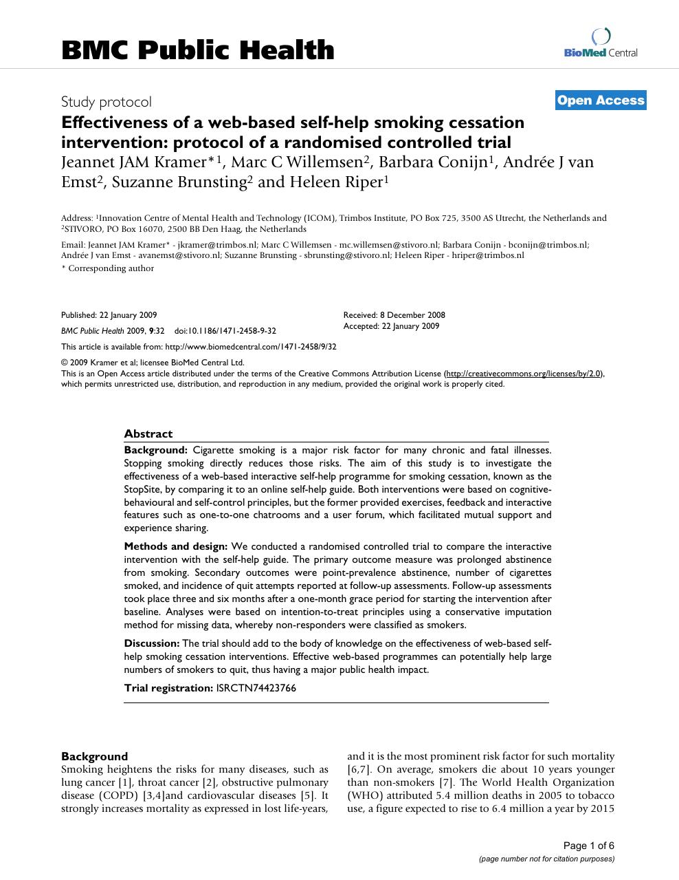 Effectiveness of a web-based self-help smoking cessation